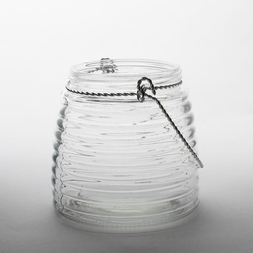 "Eastland 4.6"" Hanging Horizontal Ribbed Glass Jar with Handle Set of 12"