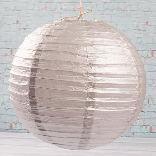 "Richland Round Chinese Paper Lanterns 12"" Silver Set of 10"