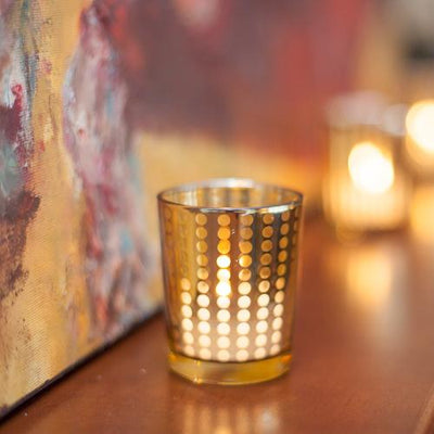 Richland Gold Dotted Glass Holder – Small Set of 12