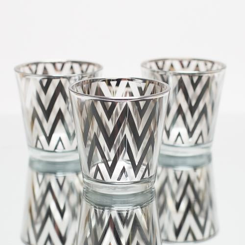 Richland Silver Chevron Glass Holder - Medium Set of 6
