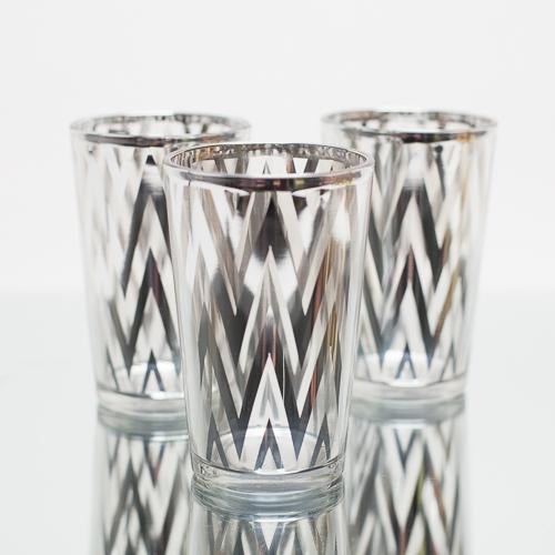 Richland Silver Chevron Glass Holder - Large Set of 48