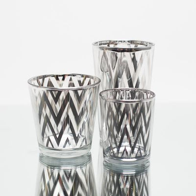 richland silver chevron glass holder medium set of 6