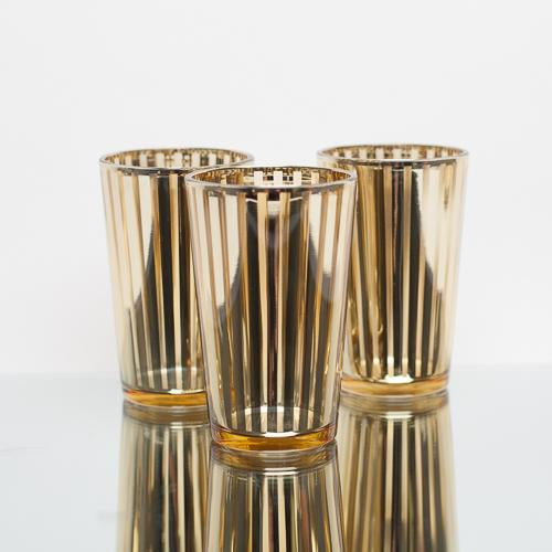 richland gold stripe glass holder large set of 6