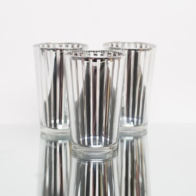 Richland Silver Stripe Glass Holder - Large Set of 48