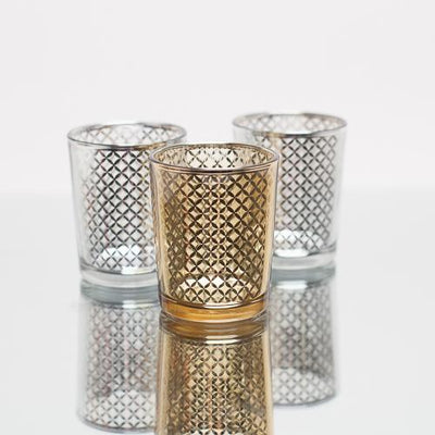 Richland Silver Lattice Glass Holder - Small Set of 12