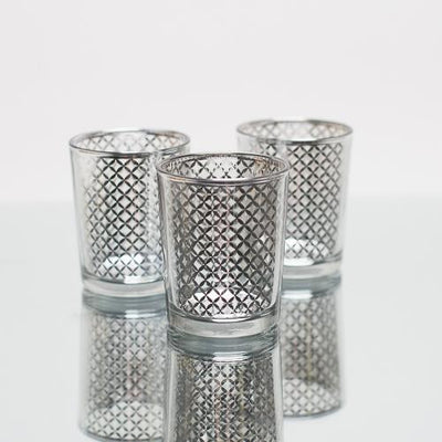 richland silver lattice glass holder small set of 12