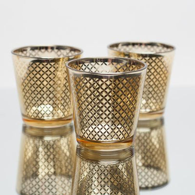 Richland Gold Lattice Glass Holder - Medium Set of 6