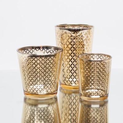 Richland Gold Lattice Glass Holder - Large Set of 48