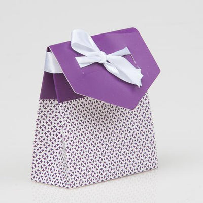 Richland Purple Damask Favor Bag with White Satin Ribbon Set of 50
