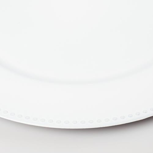 "Richland Beaded Charger Plate 13"" White Set of 48"