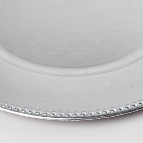 "Richland Beaded Charger Plate 13"" Silver Set of 12"