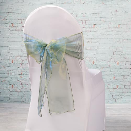"Richland 7""x108"" Hunter Green Organza Chair Sash Set of 10"