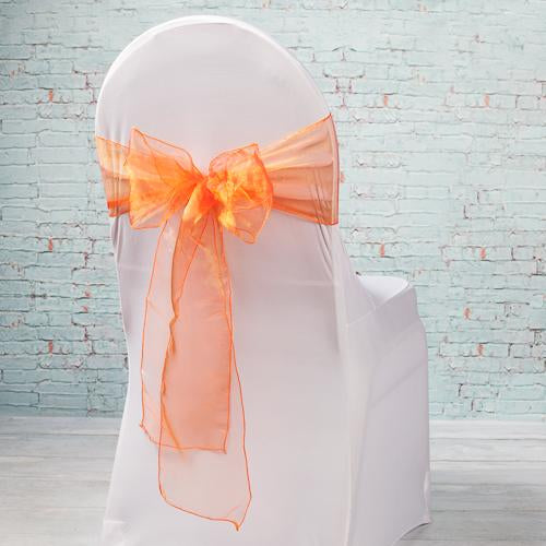 "Richland 7""x108"" Orange Organza Chair Sash Set of 10"
