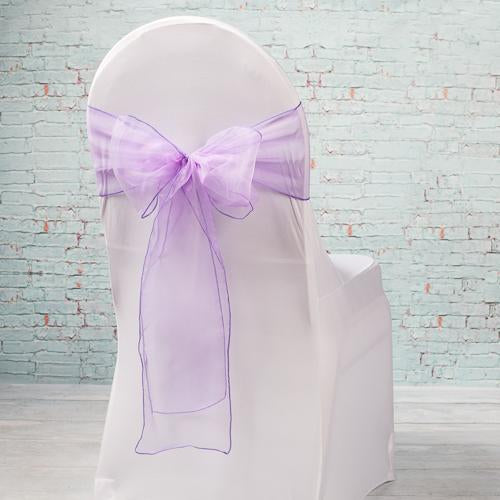 "Richland 7""x108"" Purple Organza Chair Sash Set of 10"
