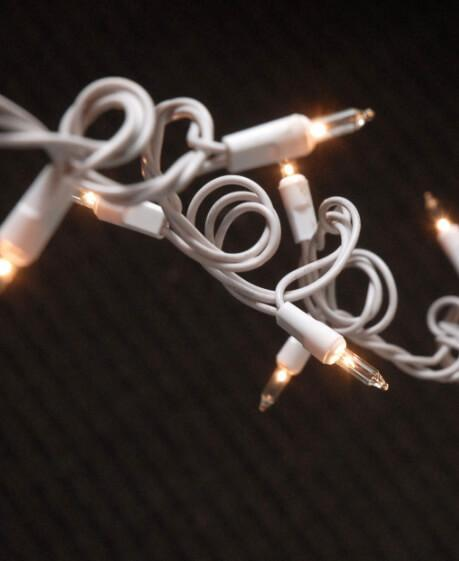 String Lights 100 Clear Lights, White Cord 32FT Indoor/Outdoor, End to End