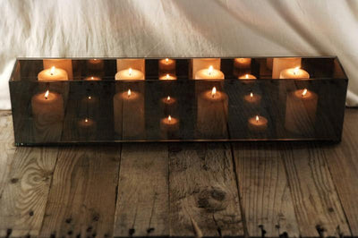 Mirrored Glass Rectangular Myriad Candle Holder 23""