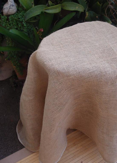round burlap tablecloth finished edges 60