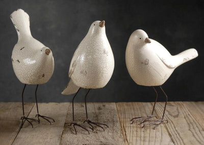 3 White Nellie Birds  Crackle Glazed