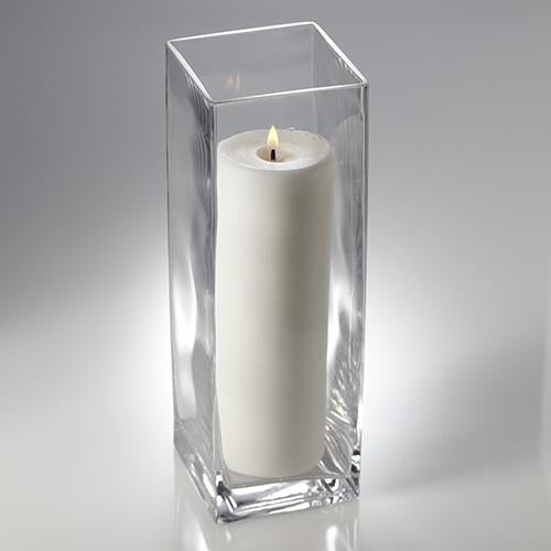 "Richland Pillar Candle 9"" & Eastland Square Holder 12 inch Set of 12"