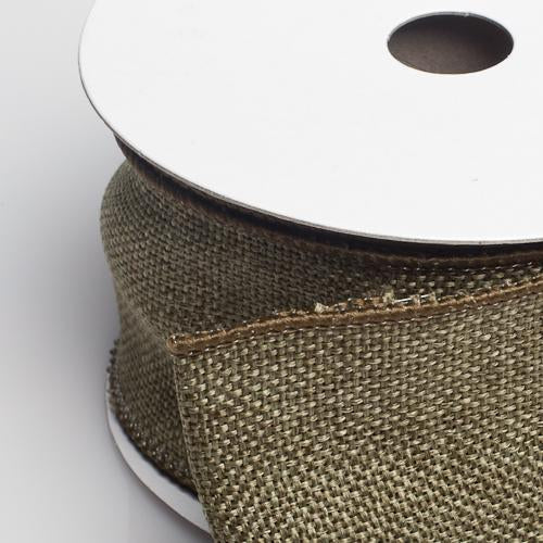 "Richland Burlap Ribbon with Wire Olive 2.5"" x 10 Yards"