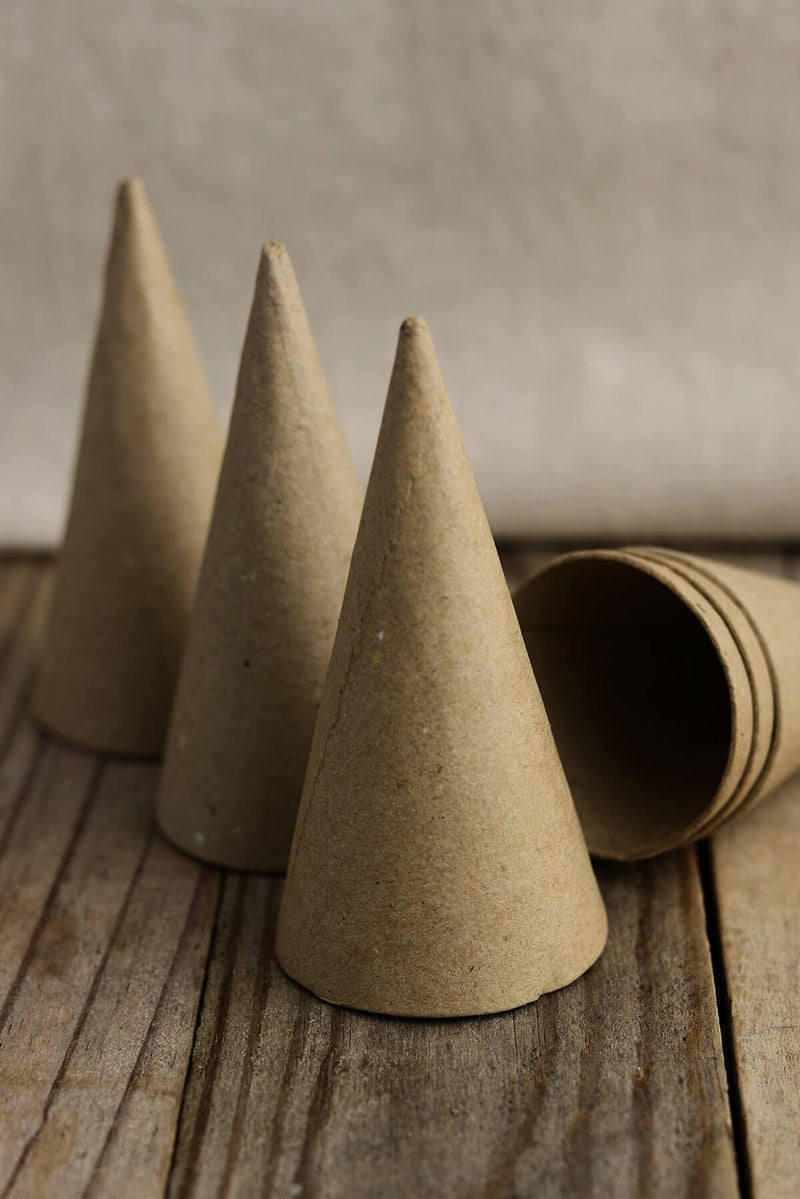 6 Small Paper Mache Cones 4 x 2in