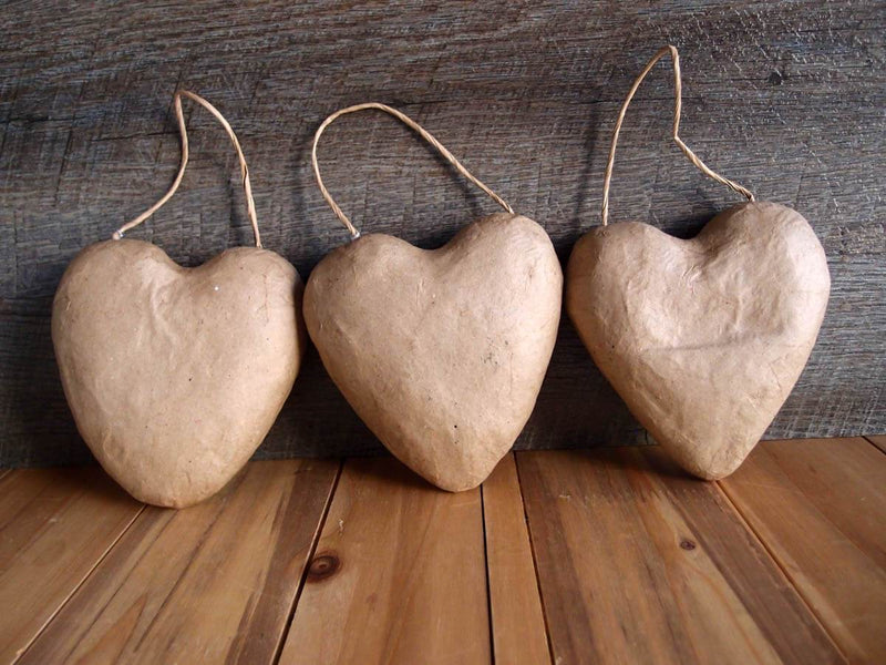paper mache puffy heart with string 5 3 pack