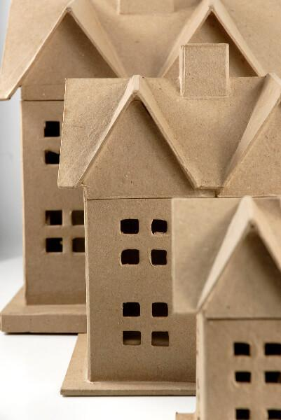 paper mache houses set of three 12 5 8 and 6