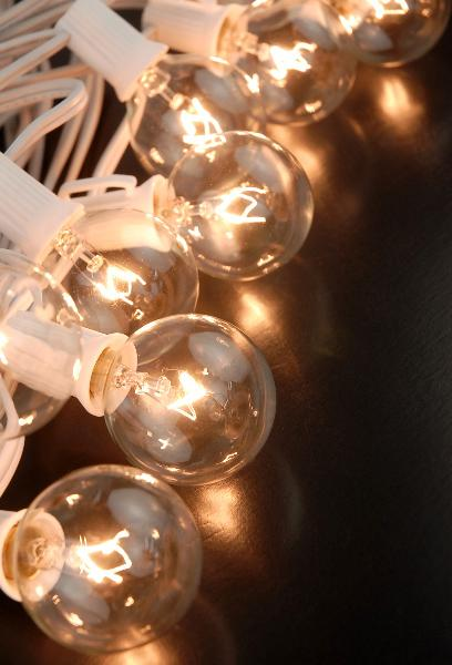 Globe Lights 40.5ft String Lights White Cord  10 G40 C7 Bulbs