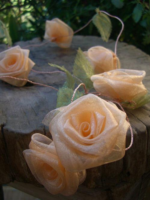 peach organza rolled rose ribbon garland 9ft
