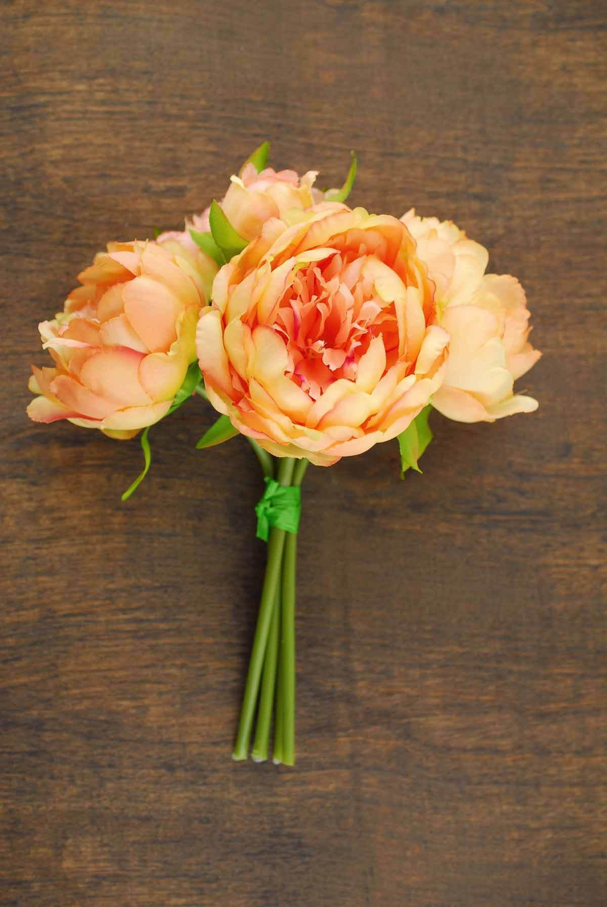 Coral Orange Peony Bouquet Quick Candles
