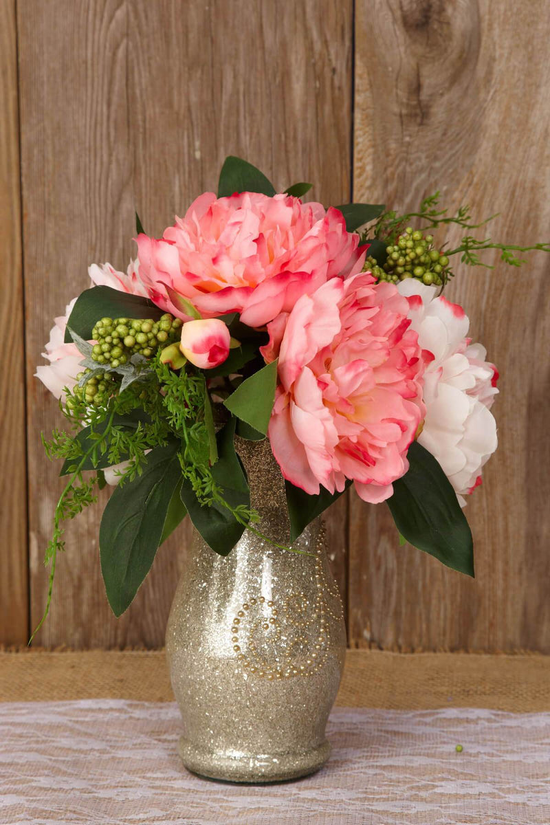 Peony Bouquet Pink and Cream 11in