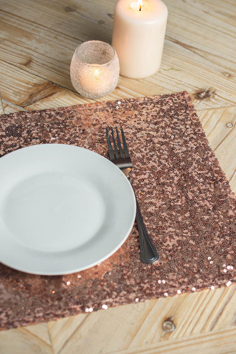 rose gold sequin placemats 17x12in