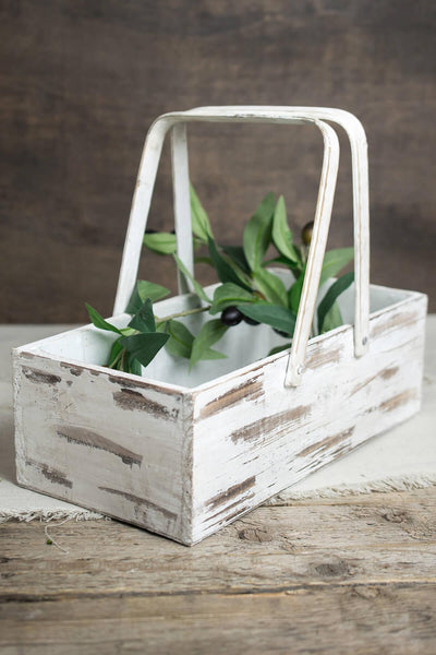 wood planter box basket with handles 6x12in