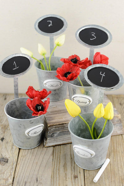 12 table number garden planters with chalkboards 9