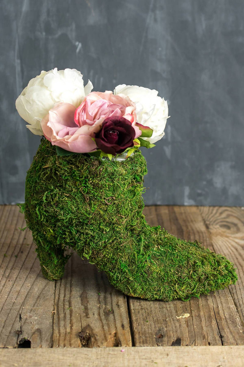moss covered ladies boot 7 topiary planter