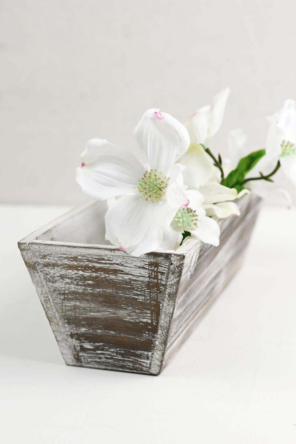 whitewashed tapered 4x12 planter boxes wood