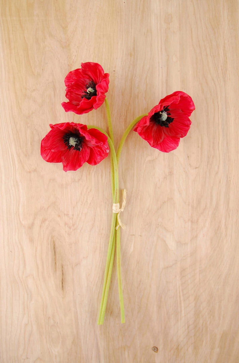 3 Red Natural Touch Poppy Flowers