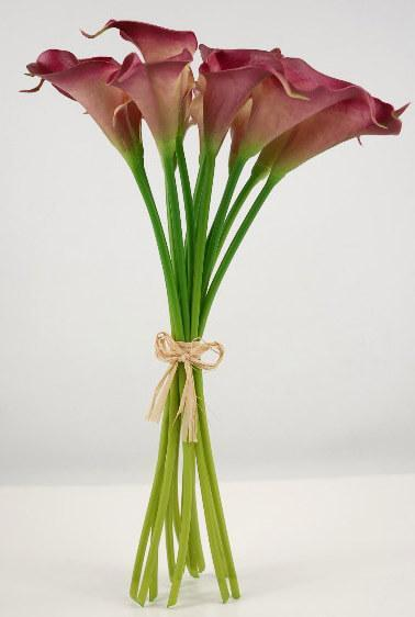 natural touch hand tied calla lily wedding bouquet dark fuchsia 12 flowers