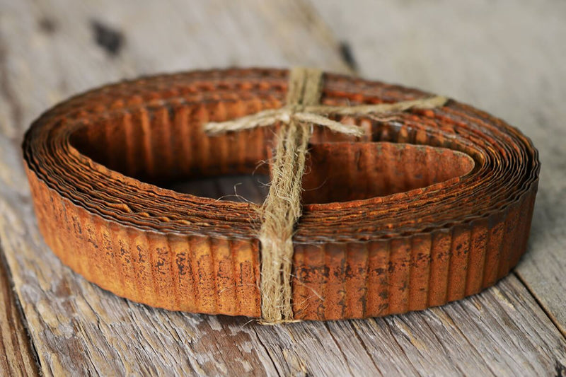 rusty corrugated tin ribbon 1in 15ft