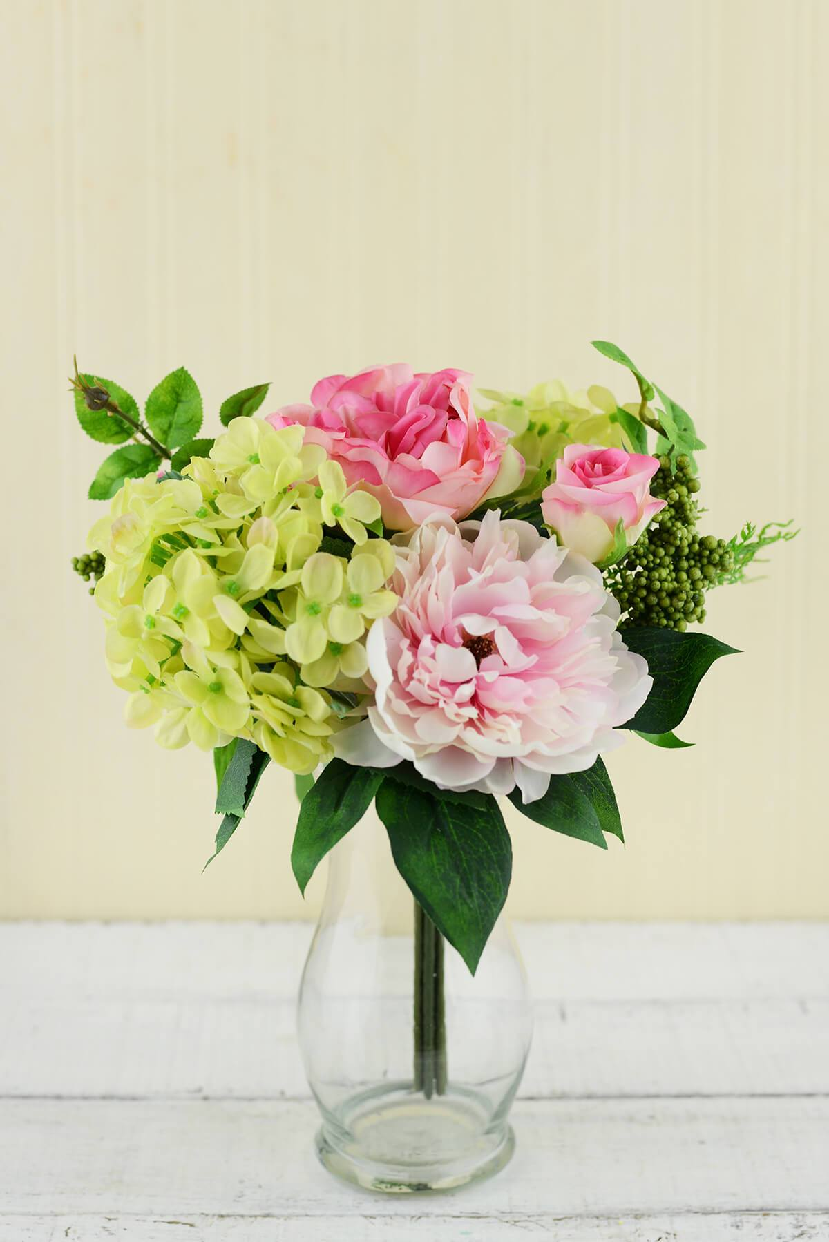 Rose and Peony Bouquet Pink 11in