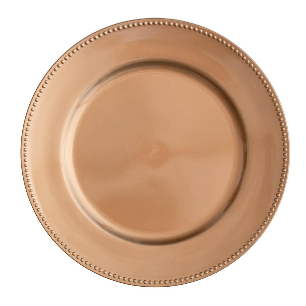 "Richland Beaded Charger Plate 13"" Rose Gold Set of 12"