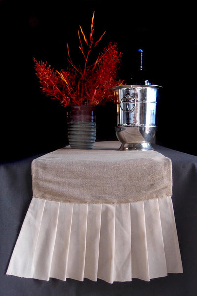 burlap cotton pleated ruffle table runner 114 inches