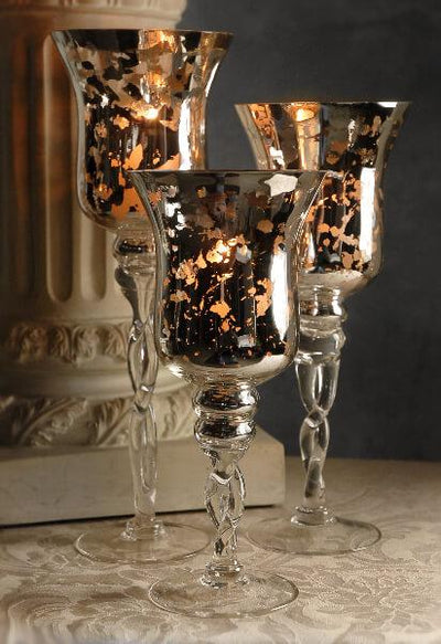 "3 Silver Mercury Glass Pedestal Candle Holders  16"", 14"", 12"""