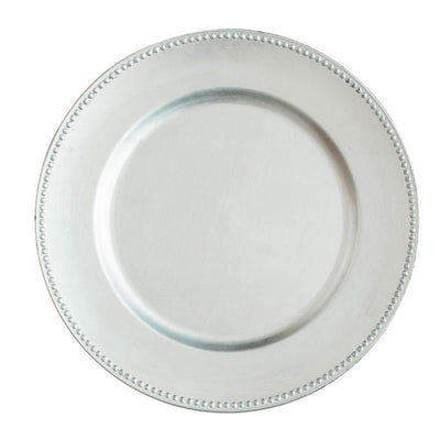 "Richland Beaded Charger Plate 13"" Silver Set of 48"