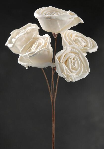 white sola roses wired stems 5 flowers