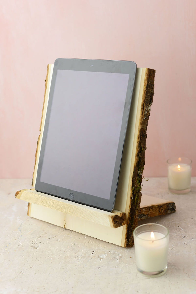tablet book stand natural wood with bark edge
