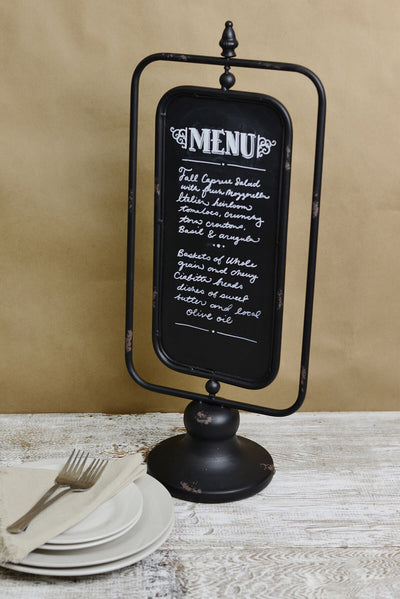 Two Sided Large Standing Chalkboard 10 x 24, Metal Frame Chalkboard on Stand