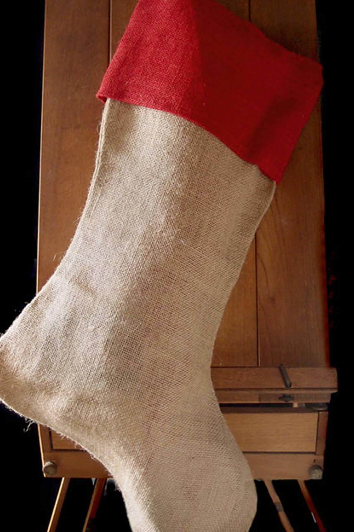 "24"" Large Burlap Christmas Stocking with Red Cuff"