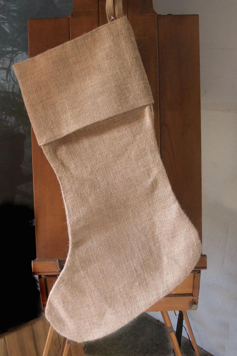 "24"" Large Burlap Christmas Stocking"
