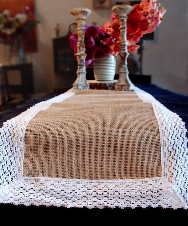 table runner burlap jute lace 14x108in